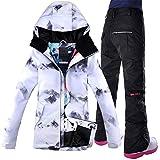 GJBXP Giacca da Snowboard Antivento Abbigliamento da Sci Tuta da Sci da Donna Campo da Equitazione Giacca da Snowboard da Sci + Pant Tuta da Sci Impermeabile da Donna XS