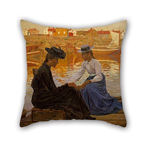 bestseason-16-x-16-inches-40-by-40-cm-oil-painting-carl-wilhelmson-the-bay-throw-cushion-coverseach-