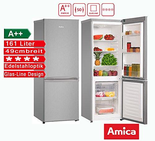 Amica Kühl-/Gefrierkombination 161L Silber A++ Kühlschrank 49cm breit Amica KGC 15438E