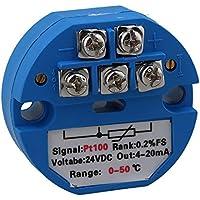 Yibuy PT100 - Transmisor de Sensor de Temperatura (0 a 50 ºc, 24 V), Color Azul