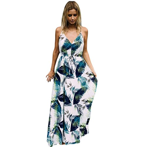 LILICAT Damen Sommer Kleid Halfter Blumen Strand Swing Neckholder Baumwolle Kleid Lang Schulterfrei Ärmellos Druck Abendkleid (XL, Blau)