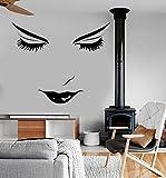Pared Vinilo Adhesivo labios ojos Sexy Cool pelo salón de belleza decoración de Amazing