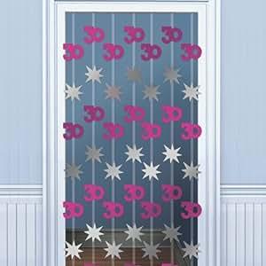 T r deko vorhang 30 geburtstag pink 198 cm Deko 30 geburtstag pink
