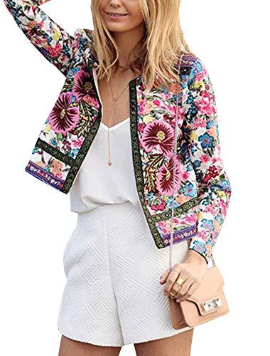 Elevesee Damen Lange Ärmel Jacke Stand Kragen Reißverschluss Florale Bomberjacke Outwear Kurz Coat (EU (M), Flower)