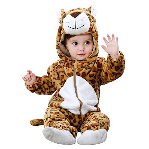 COOKY.D Bébé Filles Garçons Capuche Grenouillères 100% Doux Flanelle Hiver Dessin Animé Pyjama de Combinaison pour 0-24 Mois, Léopard, 90cm