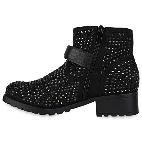 Boots Botas De Ankle Pretas Senhoras Strass Fivela Rebite Motociclista pHqW0npEv