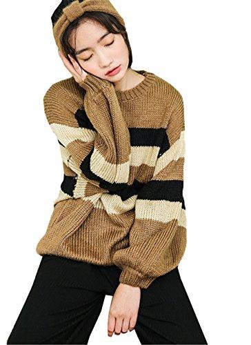 JOTHIN fasciante Caloroso Maglieria strisce Giuntura Sweater Maniche pipistrello Maglioni larghi Basic Pullover Donna Marrone
