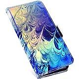 MoreChioce kompatibel mit Samsung Galaxy S5 Hülle Galaxy S5 Neo Klapphülle Glitzer Paillette Flip Case Handyhülle Ledertasche Brieftasche Schutzhülle mit Kartenfach, Blau Feder