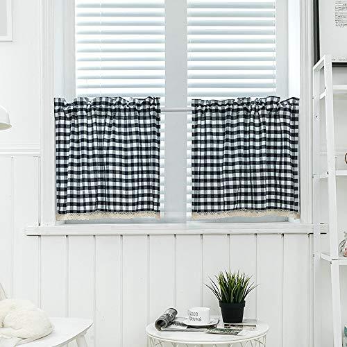 QLDZKS Blauer Plaid-Kleiner Vorhang-Spitze-Vorhang 90 * 45Cm - Plaid Vorhänge Küche