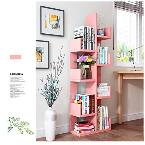 Libreria in legno, a 8ripiani, con supporto da parete, per casa e ufficio, colore bianco pink