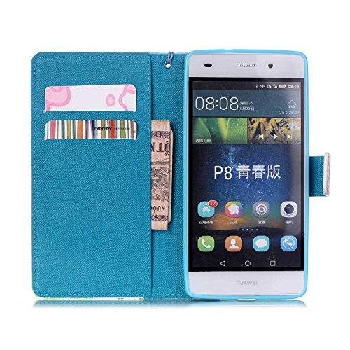 Meet de Huawei P8 Lite Bookstyle Étui Housse étui coque Case Cover smart flip cuir Case à rabat pour iPhone 4S Coque de protection Portefeuille - Never stop dreaming Snow Mountain