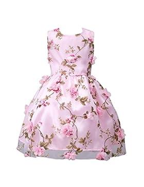 Vestito per Ragazze abito principessa bambina rosa Fiore-Applique fusciacca abiti Principessa Formale Pageant...