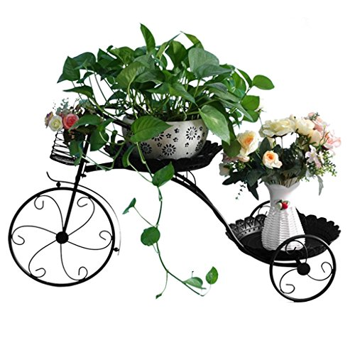 Racks de flores Hierro Metal Estante de la flor Estante Bicicleta Pastoral para macetas de flores Macetas Estante Soporte Rack Estante de almacenamiento de jardín para la sala de estar interior Balcón Decoración 77x31x45cm (2 colores) ( Color : Negro )