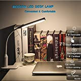 from Gogogoal Rechargeable LED Desk Lamp/ Clip Light, 3 Color Modes, Stepless Dimmable, 2000mAh Battery, Touch Sensitive and Flexible Clamp Lamp, Table Lamp for Office Reading Study Work, 6W Model D-3