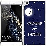 Funda carcasa para Huawei P8 Lite frase Hace falta oscuridad para poder ver las estrellas borde blanco