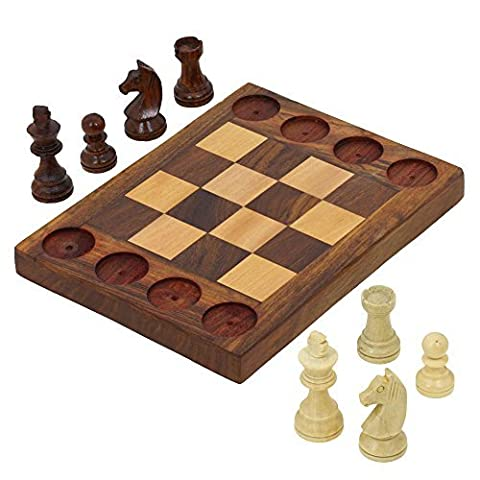 Handmade Wooden Beginners Chess Set - Cross Between Chess and Tic Tac Toe - Teaches Basic Chess