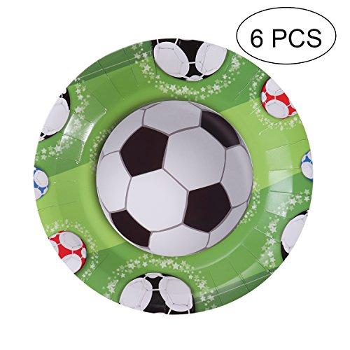 BESTOYARD Papier Teller Premium Papier Platte für Fußball Thema Party Geburtstag Party 2018 FIFA Feiern 6 Stück (7 Zoll) (Platten Papier Grün Partei)