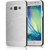 tinxi®Harte Schutzhülle für Samsung Galaxy A3 2015 Version 4,5 Zoll Hülle Rück Schale Cover Case Schutz aus gebürstetem Aluminium Galvanotechnik Metall mit silikon Rand sowie Innenschale Silber
