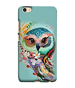 Fuson Designer Back Case Cover for Vivo V5 (Owl Image Birds Flowers Nocturnal Birds)
