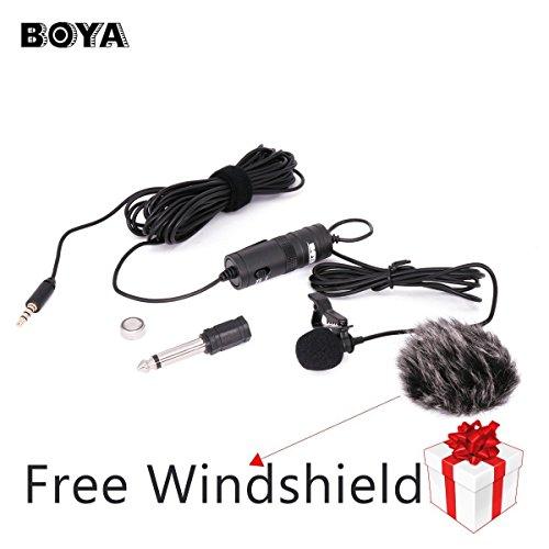 BOYA-BY-M1-35mm-Microfono-condensatore-Lavalier-con-parabrezza-AriMic-per-iPhone-7-Plus-Smartphone-Dslr-registratore-videocamere
