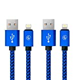 EVOMIND Lightning Kabel auf USB in geflochtenes Nylon [2x1M] Ladekabel für iPhone X / 8/8+/ 7/7+ / 6s/6s+/ 6/6+/ 5c/5s/5/SE, iPad 4/5/6. Gen, iPad Pro/Air/Mini, iPod Nano/Touch – 2x1M Blau