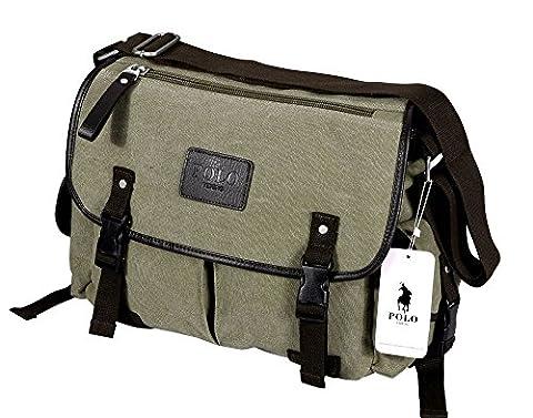 VIDENG POLO Mens Messenger Bag Vintage Canvas Duffel Bag Shoulder Bag Gym Bag Travel Handbag (Khaki-pmc3)