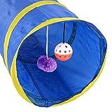 Pecute Haustier Tunnel zusammenklappbar Spieltunnel mit Bell-Spielzeug 55 x 25 cm (Blau)