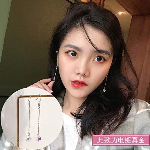 Chwewxi Lady Aurora Zucker Kristall Ohrringe Temperament Korea Wild Einfach Super Fair Ohrringe Ohrringe, Bunte Kristall Lange Ohrringe (Platin Dickes Platin)