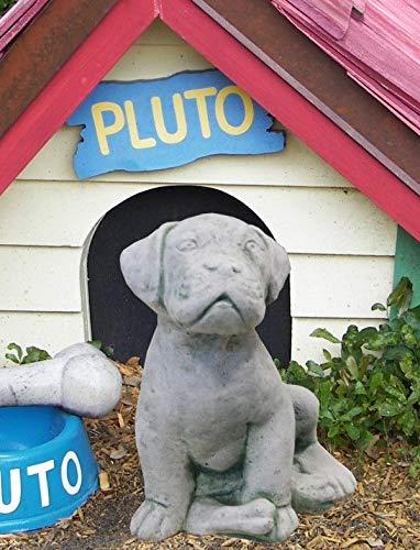 Massiver Welpe 24cm Hund Beton 5kg Stein Skulptur Steinfiguren Garten Statue