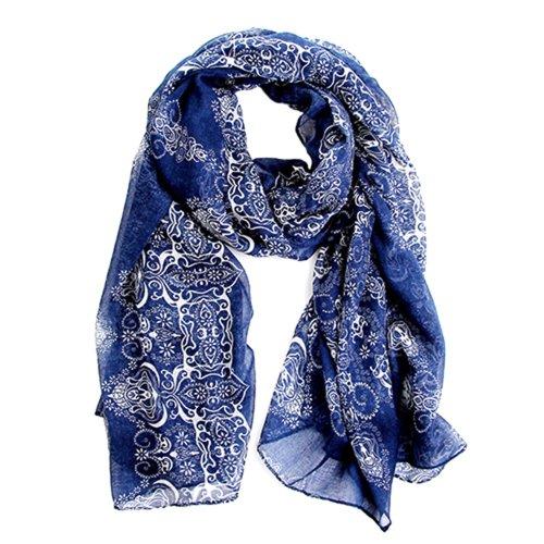 Echarpe Foulard Long Doux Mode Nouveau Chaud Automne Hiver pour Femmes (Bleu Foncé)