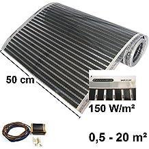 Calorique – Láminas de Calefacción por Suelo Radiante 50cm 150W/m² establece de 1m² Solución en Calefacción Efectiva y Ahorradora de Energía para el Hogar