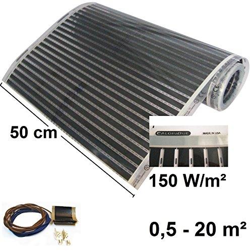 Calorique Infrarot Heizfolie Elektrische Fußbodenheizung 50 cm Set 90 W/m² 3,0 m² - effiziente und kostengünstige Heizung für Neubau oder Altbau-Sanierung