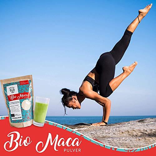 Lovina BIO Maca Pulver 500g | Naturbelassen, hochdosiert & sonnengetrocknet in Peru | DE-ÖKO-006 | Mischung aller Maca-Sorten für einen extra hohen Wirkstoffgehalt | Abgefüllt in Deutschland