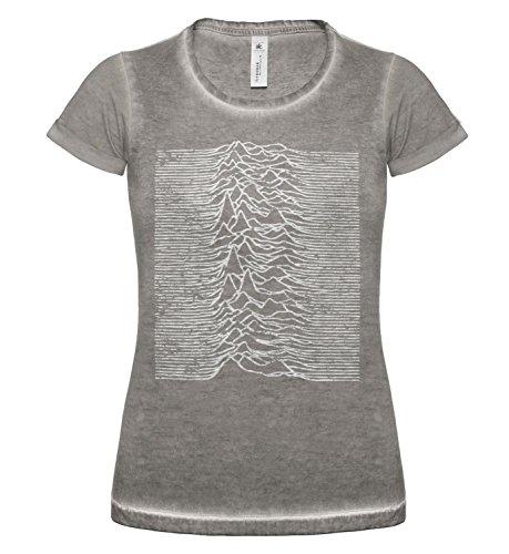 LaMAGLIERIA T-Shirt Donna Vintage Look Joy Division Japan D COD. Grpr0084 - Maglietta DNM Plug in Effetto Vintage con Stampa Rock Grey Clash