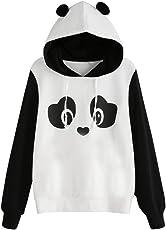 Mose Women's Casual Long Sleeve Panda Print Tops Pullover Hoodie Tops