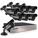 ZOSI 8CH 1080p DVR avec 8pcs 1080p Caméra de Surveillance Extérieure IP67 App Gratuite pour Accès Via Android/iPhone/PC/Mac Alarme pour Maison sans Disque Dur