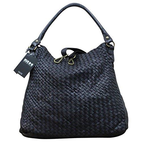 Made in Italy Damen Schultertasche Beuteltasche Bag Shopper Leder Vintage Geflochten , Farbe:Schwarz