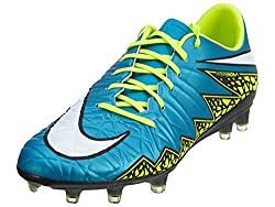 Nike Womens Hypervenom Phatal II FG Soccer Cleat (Blue Lagoon, Volt, Black) Sz. 7. 5