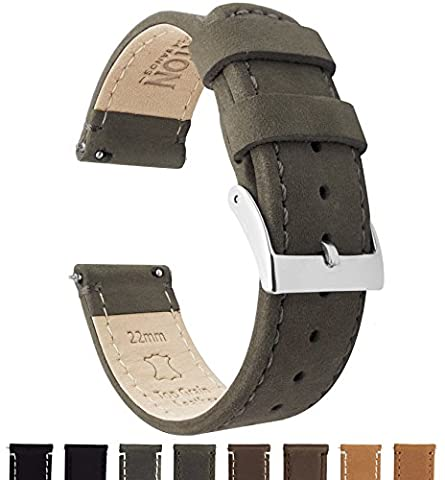 BARTON Quick Release Top Grain Leather Watch Straps - Choose Colour & Width (18mm, 20mm or 22mm) - Espresso (Dark Brown) 18mm Watch