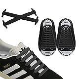 JANIRO Elastische Silikon Schnürsenkel – flexibler Schuhbänder Ersatz ohne Binden - Kinder & Erwachsene - 20 Stück - Schwarz