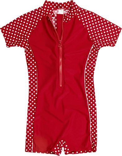 Playshoes Baby - M▒dchen Schwimmbekleidung Einteiler, Badeanzug Punkte mit UV-Schutz, Oeko-Tex Standard 100 rot Gr.74/80