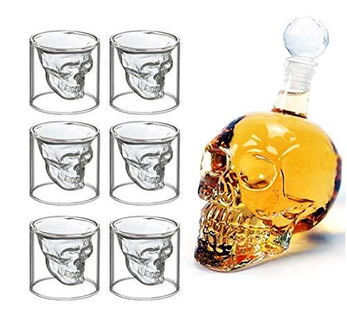 ntic Große Weindekanter Set Bar Skull Aerator Carafe und 6 Whiskey-Gläser mit Stopper ()