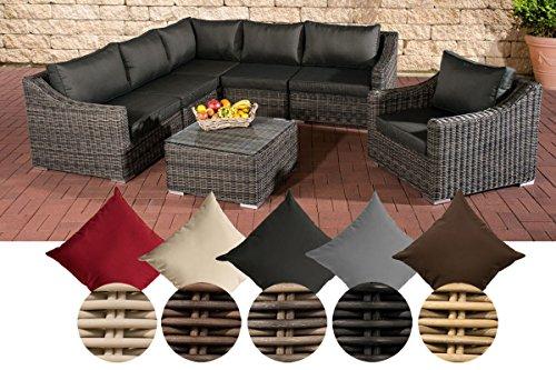 CLP Gartengarnitur DEL MAR | Sitzgruppe mit 6 Sitzplätzen | Gartenmöbel-Set aus Polyrattan | In verschiedenen Farben erhältlich Rattan Farbe natura, Bezugfarbe: Terrabraun