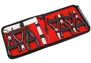10-piece Expert's Jewellery Making Tools Pliers Kit Set with BLACK Handles & Alligator-Print Black Case