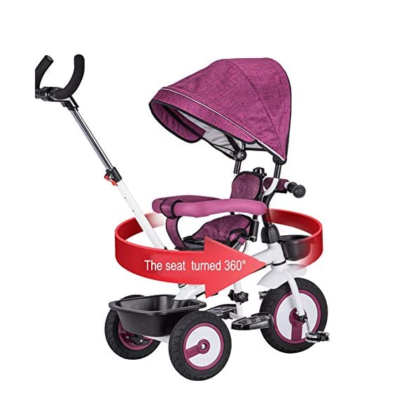 GSDZSY - 4 IN 1 Children Tricycle 360° Swivel Seat The Push Rod Can Control The Direction With Detachable Putter And Awning Rubber Wheel 2-5 Years Old,Grey_A GSDZSY ❀ Material: High carbon steel + ABS + Rubber wheel, suitable for children from 2- 5 years old, maximum load 30 kg ❀ Features: The push rod can be adjusted heights; the seat can be rotated 360 to facilitate communication between mother and baby; adjustable parasol for different weather conditions ❀ Performance: high carbon steel frame, stronger and stronger bearing capacity; Rubber wheel is non-slip wearable suitable for all kinds of road conditions, seat is made of breathable fabric, baby ride is more comfortable 3