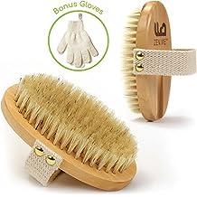 Cepillo Cuerpo Seco Cerdas Naturales y 1 Par de Guantes Exfoliante para Baño y Ducha, Efectivo para Celulitis, mejor Circulación, Exfoliación de Piel y Drenaje Linfático, 100% Natural