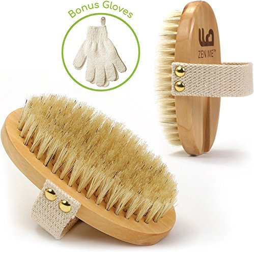Körperbürste mit Naturborsten + Peeling Handschuhe | Ideal für trockene Haut und Verbesserung von Durchblutung und Lymphdrainage | Massage Trockenbürste für Hautstraffung bei Cellulite | natürliche Hautpflege einpflegen