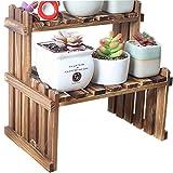 Da Jia Inc 2 Tier Tabletop Wooden Plant Stand Decorative Planter Holder Desktop Flower Pot Shelf Rack for Office Home 11.8