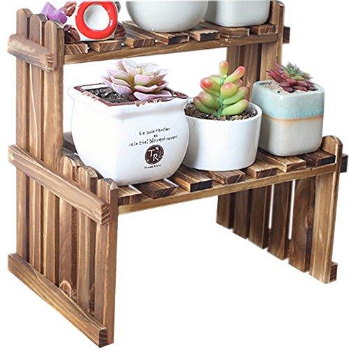 Foto de Da Jia Inc 2Tier mesa madera macetas para plantas soporte escritorio estantería accesorio de de maceta para oficina hogar, madera, Carbonized Color, 11.8