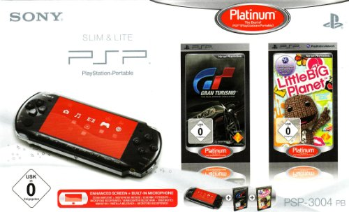 PlayStation Portable - PSP Konsole Slim & Lite 3004, black + Gran Turismo und Little Big Planet (Psp-spiele Nur)